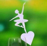 120 cái/lốc Laser Cut Ballet Dancer Nơi Thiết Kế số Thẻ chủ Wine Thẻ Glass Wedding party Favors wd127