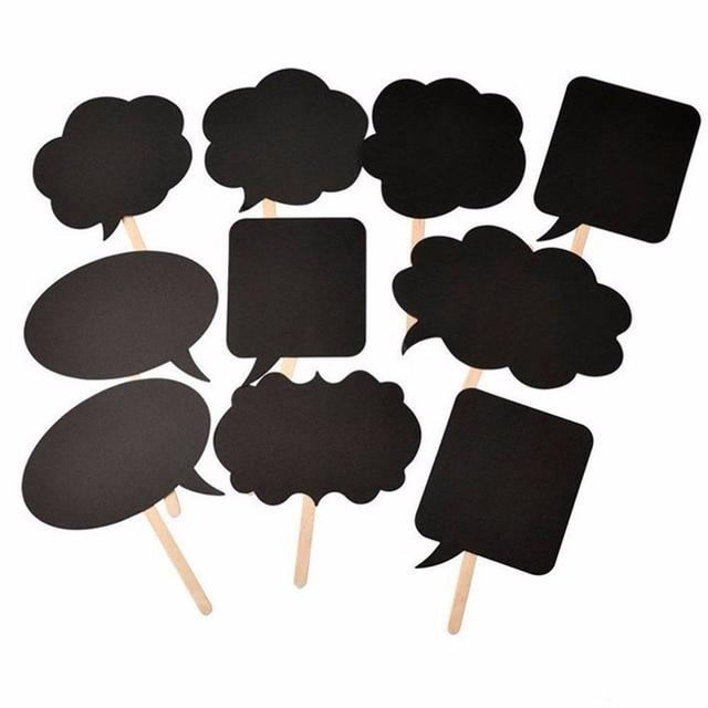 DIY 10 piezas tarjetas negras 10 piezas palos + tiza + pegamento foto stand Props amor DIY fotografía boda decoración photobooth fiesta PB006
