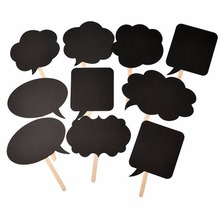 DIY 10pcs black cards 10pcs sticks chalk glue Photo Booth Props Love DIY Photography Wedding Decoration