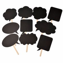 DIY 10pcs black cards 10pcs sticks+chalk+glue Photo Booth Props Love DIY Photography Wedding Decoration Party photobooth PB006(China)
