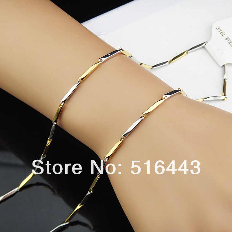 3pcs New Arrival  316L Stainless Steel Women Mens Costume Necklace Fashion Gold Silver Jewelry A-816