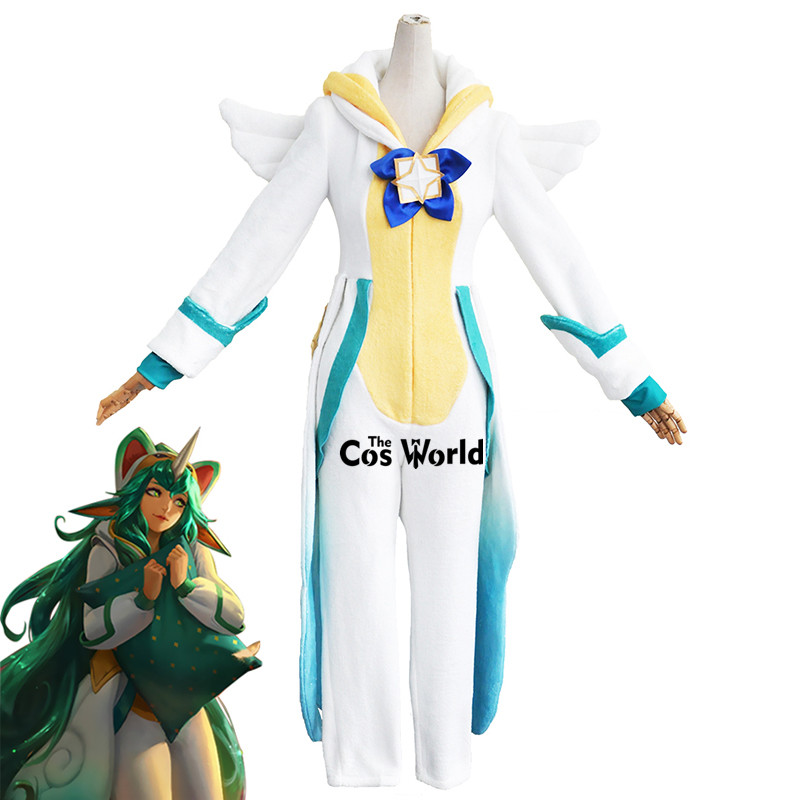 LOL Soraka Sleepwear Homewear Hooded Pajama Guardian Outfit Cosplay Costumes 1