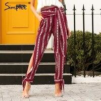 Simplee Striped Print Harem Pants Capri High Split Loose Casual Pants Women Bottom Sash Summer Trousers