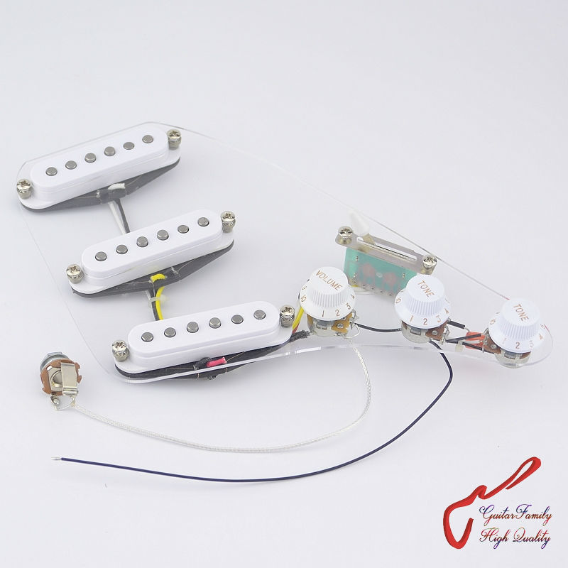1 Set GuitarFamily Wiring Harness SSS Alnico Bar Electric Guitar Pickup  White ( #0012 ) 1 set guitarfamily alnico pickup for casino jazz guitar nickel cover made in korea