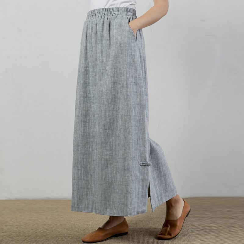Tea Plate Button Retro Elastic Waist Double Thick Cotton Linen Straight Skirts Long Sections