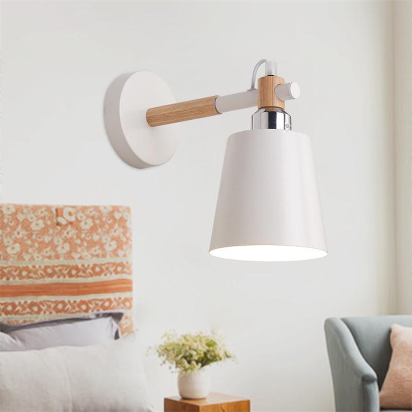 Современные деревянные LED Настенные светильники Nordic простой прикроватные бра промышленные металлические чтения Освещение Крытый коридор ... ...