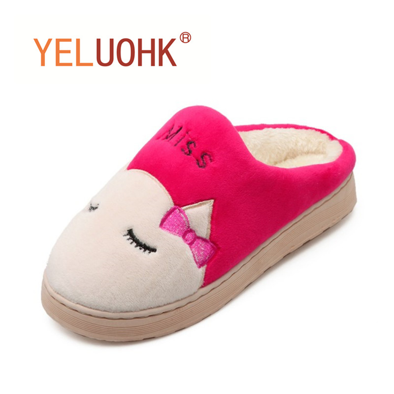 Yeluohk Plush Slippers Animals Winter Slippers Female Indoor Home Slippers Women Home Shoes For Women soft plush big feet pattern winter slippers