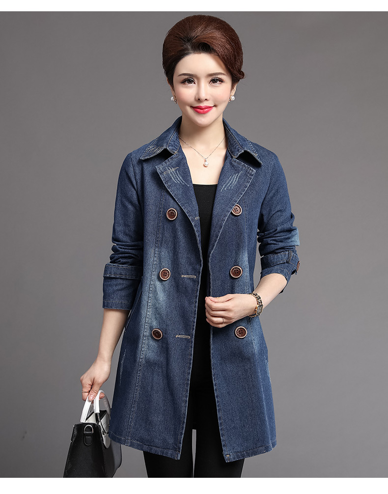 British Style Women Double-breasted Denim Trench Coat Woman Casual Jeans Duster Coats Plus Size Overcoats Lady Leisure Trenches Outerwear (6)