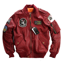 NEW ! Men's Leather Jacket Embroidery Clothing Flight Suit Jacket Motorcycle Jackets Male Winter Russian Coats