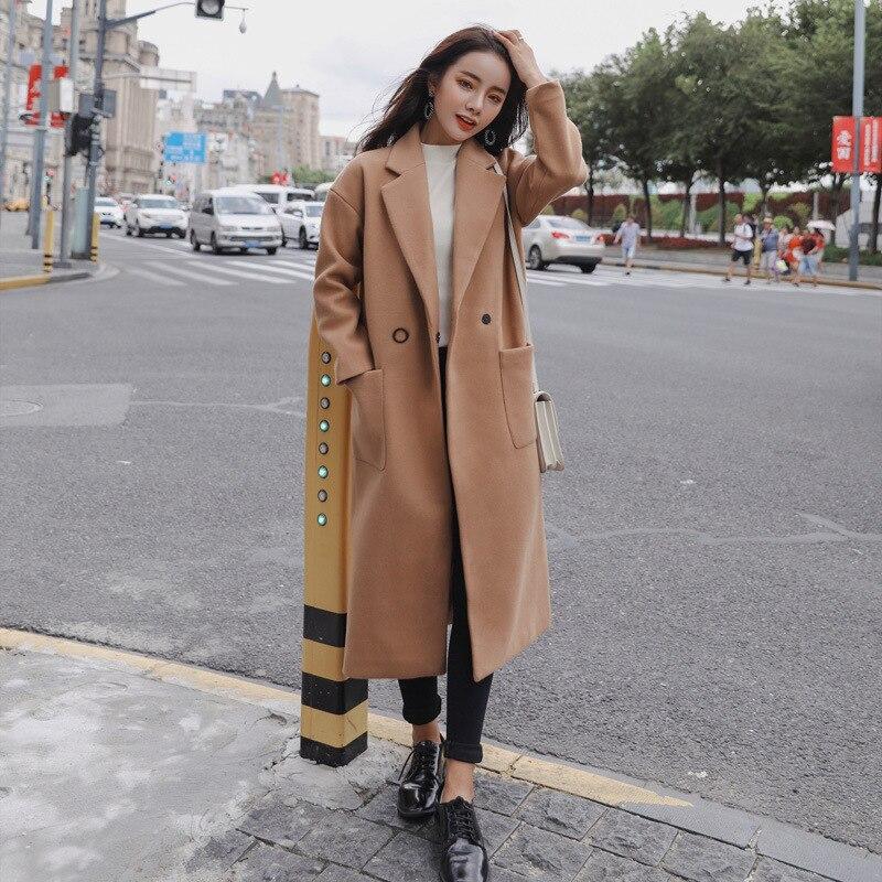 Laine Manteau De down Noir rouge kaki Femmes Turn Lady Long Mode Veste Bureau En Cachemire Unique Col Poitrine Et PaqOIPYw