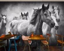 beibehang papier peint mural 3d Flying horse black and white oil painting mural wallpaper background wallpaper for walls 3 d