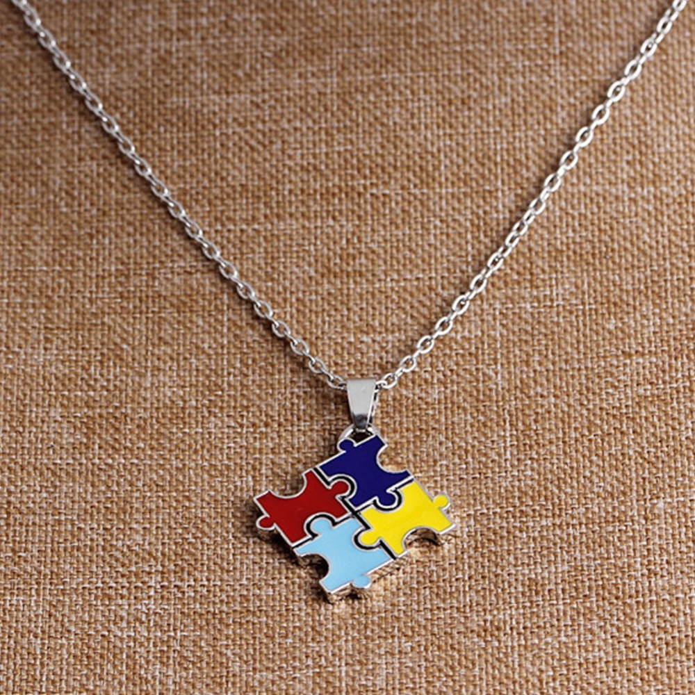 Hot multicolor enamel autism awareness puzzle piece COLLAR PENDANT best friend statement necklaces for women fashion jewelry(China)