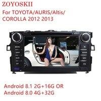 ZOYOSKII ОС Android 8,1 Автомобильные магнитолы с DVD gps bluetooth для TOYOTA/AURIS/Альтис COROLLA 2012 2013