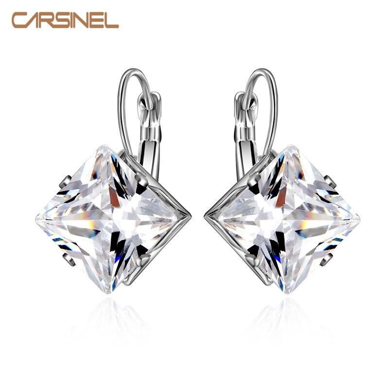 CARSINEL 2016 Womens Square Silver Color Wedding Hoop Earrings AAA Cubic Zircon Earrings For Women Party Fashion Bijoux Jewelry