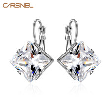 CARSINEL 2016 Womens Square Silver color Wedding Hoop Earrings AAA Cubic Zircon Earrings For Women Party Fashion Bijoux Jewelry(China)