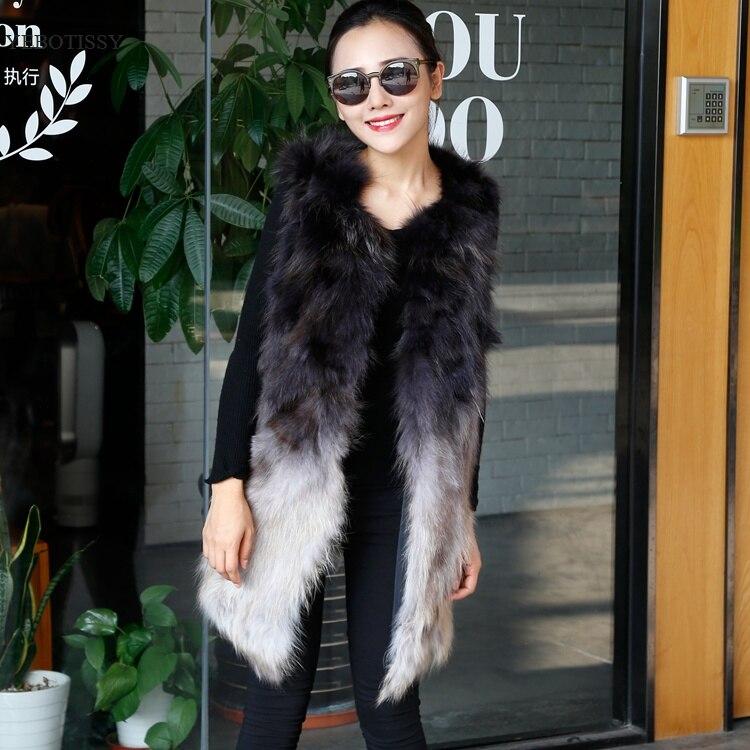 2018 new arrival women real fur vest natural raccoon fur waistcoat middle long gradient gray female