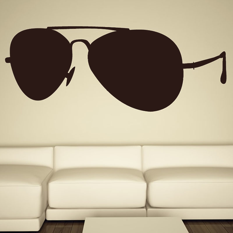 2015 New Arrival Fashionable Sunglasses Wall Stickers PVC Self Adhesive Creative Home Decor