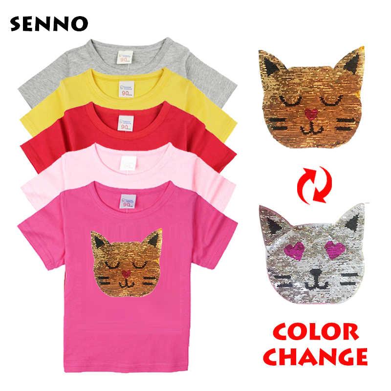 d8d5b0ec Girls Magic Glitter Reverse Sequin Top Color Changing Kids Girls T shirts  Summer Kids Sequined T