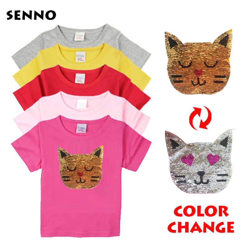 a4317c361 Las chicas magia brillo inversa Top de lentejuelas que cambia de Color niños  chicas T camisas de verano niños lentejuelas T camisa de los niños ropa en  ...