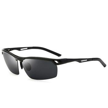 Schwarz/Blau/Orange Objektiv UV400 Männer Sonnenbrille Metallrahmen Polarisierte Sonnenbrille Mit Box