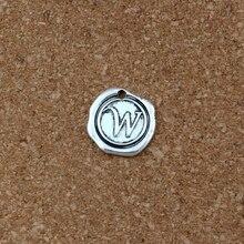 20Pcs/lots Antique Silver Single side Letter W Disc Initial alloy Charms Pendants DIY Accessories 18x18.5MM