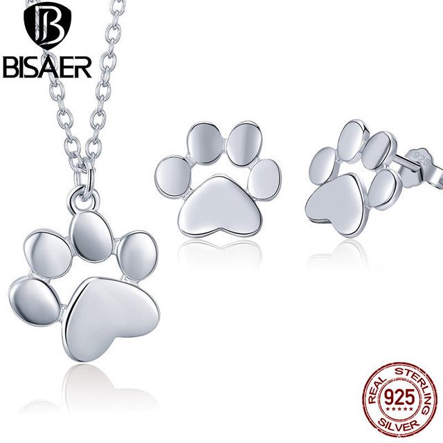 b38465b40636 BISAER 925 Sterling Silver Jewelry Sets Animal Dog Cat Pussy Footprints  Girls Jewelry Set Sterling Silver