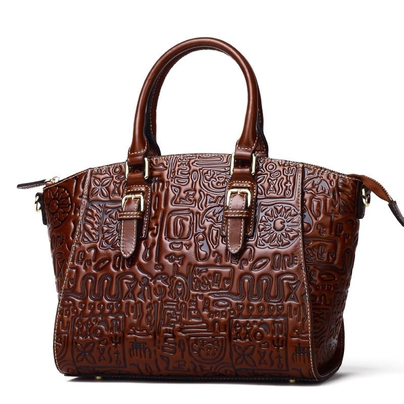 Fashion Retro Printed Women Bag Handbag Genuine Leather Tote Bag Cowhide ladies' Casual Shoulder Bag Messenger Bag Big Bag~16B54 women s handbag 2015 fashion vertical cowhide messenger shoulder bag viney