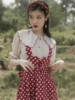 2019 new fashion women's two piece set peter pan collar shirt +dot strap skirt two piece suit