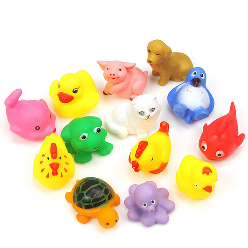 13pcs/Set Baby Bath Toys Yellow Rubber Duck Kids Water Toys Squeeze ...
