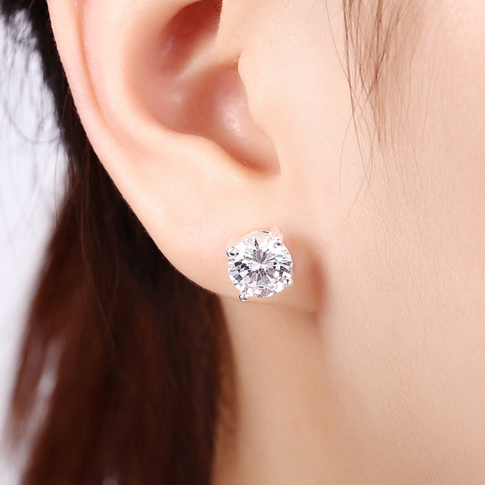 MEEKCAT Luxury 2 Ct Round AAA Cubic Zircon Stud Earring For Women men Real 925 Sterling Silver Fashion Big Stone Stud Earring four color round stud earring set 4pair