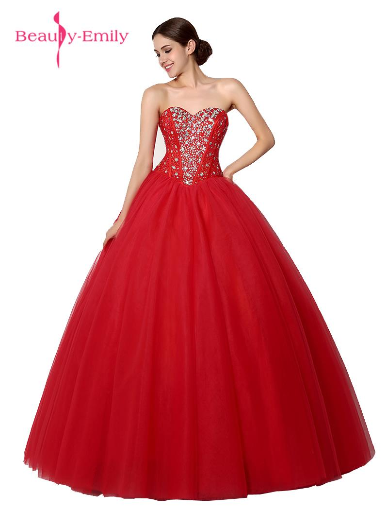 Beauty Emily Red Lace Beading Sweetheart font b Wedding b font Dresses Sleeveless Sweep Train font