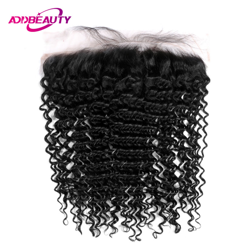 Afro Kinky Curly 13x4 Lace Frontal Closure Brazilian Unprocessed Virgin Human Baby Hair Natural Color 130% Free Part Ear To Ear