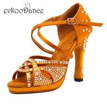 Evkoodance Size US 4-12 Dance Shoes For Women Heel Height 10cm Zapatos De Baile brown with rhinestone Professional  Evkoo-561
