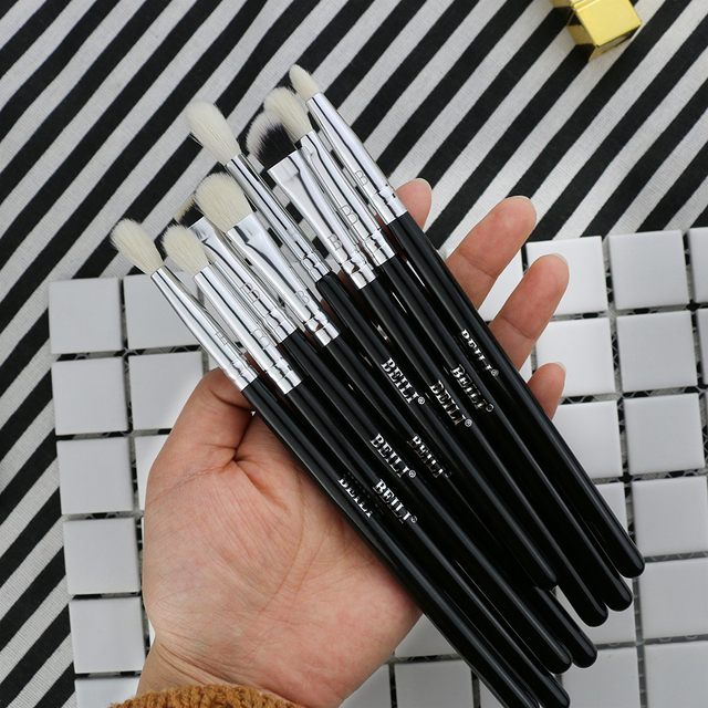 BEILI 8pcs Classic Black Pro makeup brushes Goat synthetic Hair Eye shadow Brow Blending smoky Makeup Brush Set 2
