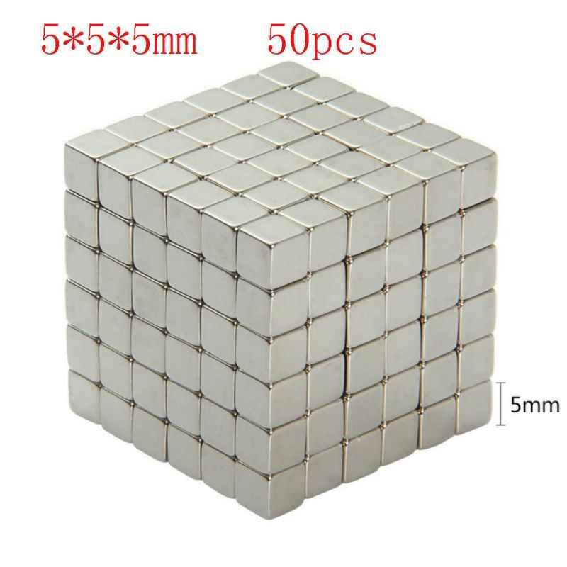 Фото 50 шт. неодимовые магниты Куб 5x5x5 мм N35 Постоянный ndfeb супер сильный мощный