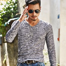 2017 Spring Summer Men Tops Fashion V-Neck Slim Fit Long Sleeve T-Shirt Trend Sexy Casual Korean T-Shirts