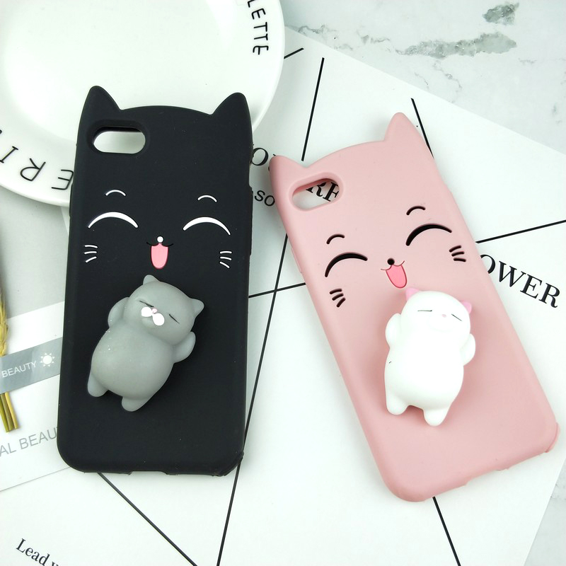 3D Cute Glitter Smile Cat Case For Iphone SE 5S 5C 6 6S 7 8 Plus X Squishy Case For OPPO R9 R9S Plus R11 R11S Y66/Y67 A59 A77/F3
