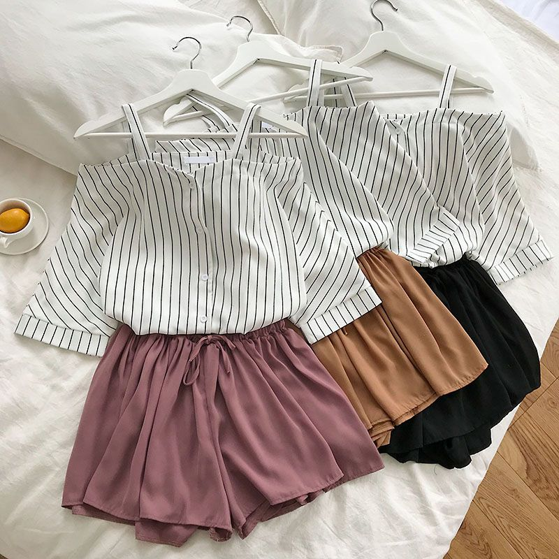 HTB14yz1e8Kw3KVjSZTEq6AuRpXao - new fashion women's two piece set Fresh striped off-the-shoulder loose blosue top + elastic waist shorts suit