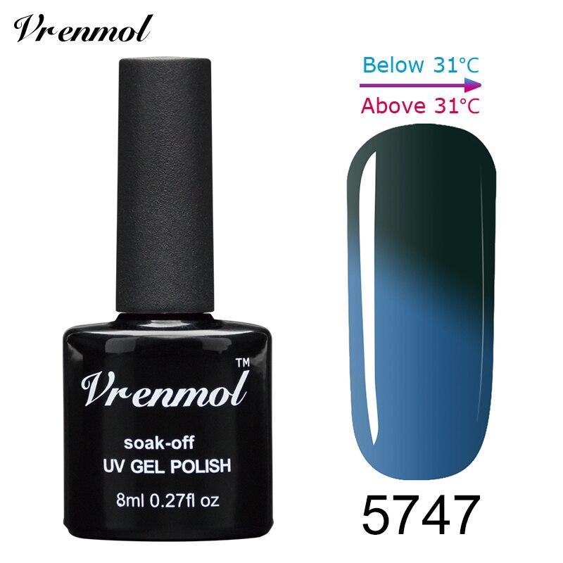 Vrenmol, 1 шт., меняющий цвет, замачиваемый УФ-гель, цвета, лак Verniz, Термальный, меняющий настроение, Гель-лак для ногтей - Цвет: 5747