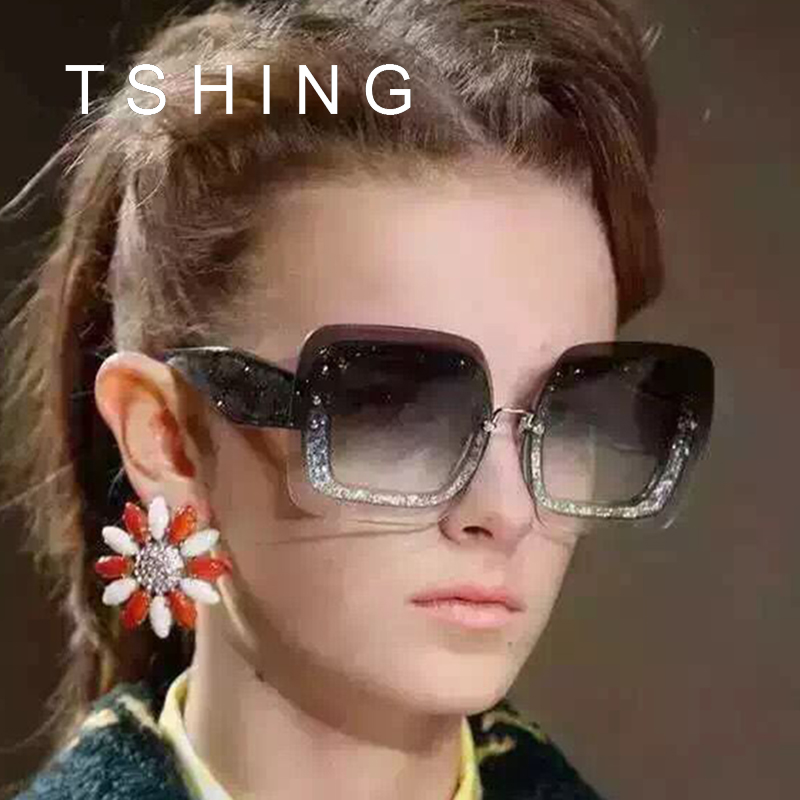 Tshing brand designer new oversized rimless square sunglasses fashion women big size sun glasses What style glasses are in fashion 2015