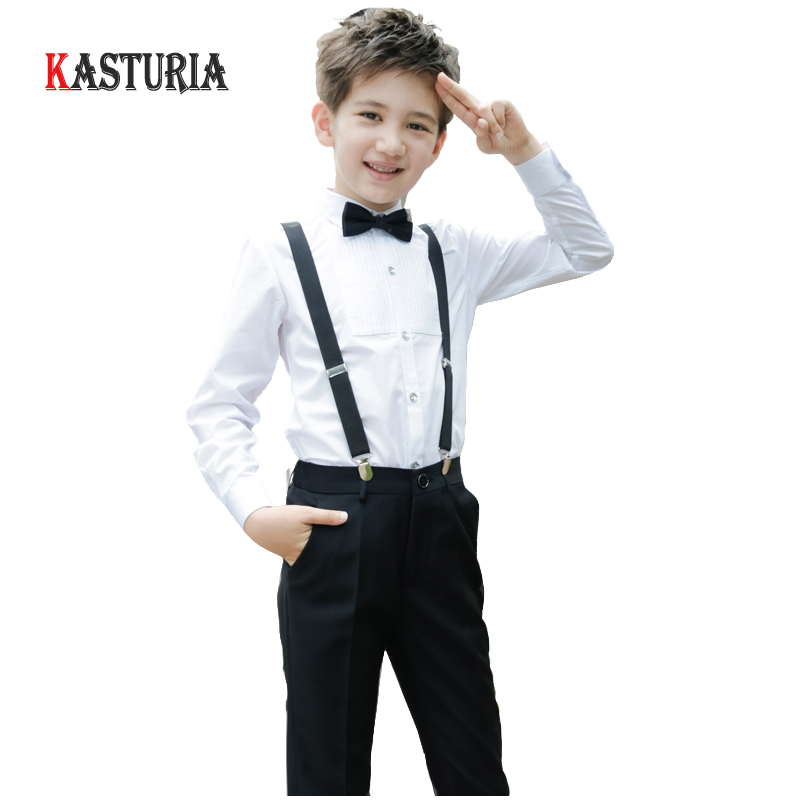 High Quality kids clothing sets boys clothing school student costume white shirt and trousers party formal clothes 4pcs/set toddler boys clothing set summer baby suit tops shirt casual long suspender pant trousers sets formal wedding party costume