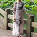 Folk style improved chinese style cheongsam chi-pao chinese dress ink printing linen liner loose robe