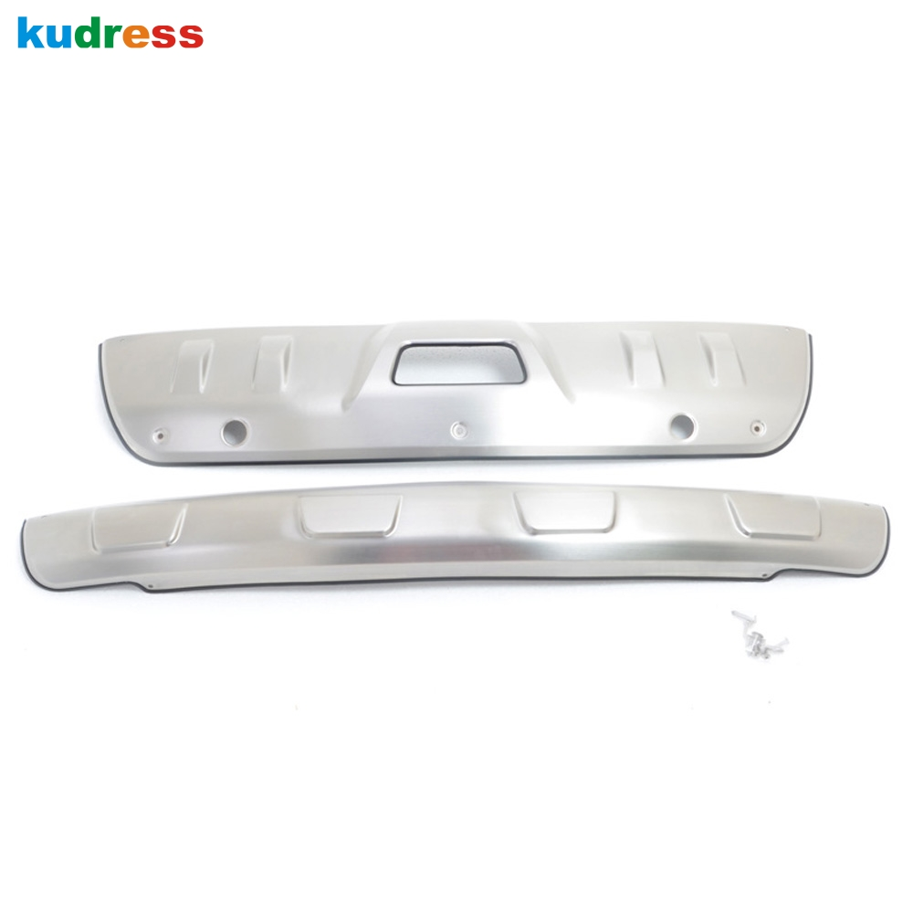 For Nissan X-TRAIL 2014 2015 2016 2017 Stainless Steel Front and Rear Bumper Protector Guard Skid Plate Cover Car Accessories rogue stainless steel rear bumper protector sill trunk guard cover trim for 2014 2016 nissan x trail x trail t32 car accessories