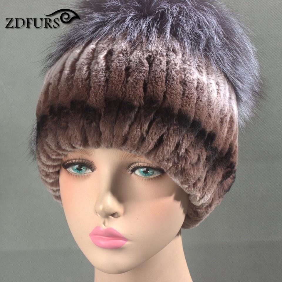 Glaforny 2017 New Women Rex Rabbit Fur Hats with Silver Fox Fur Top - Apparel Accessories - Photo 5
