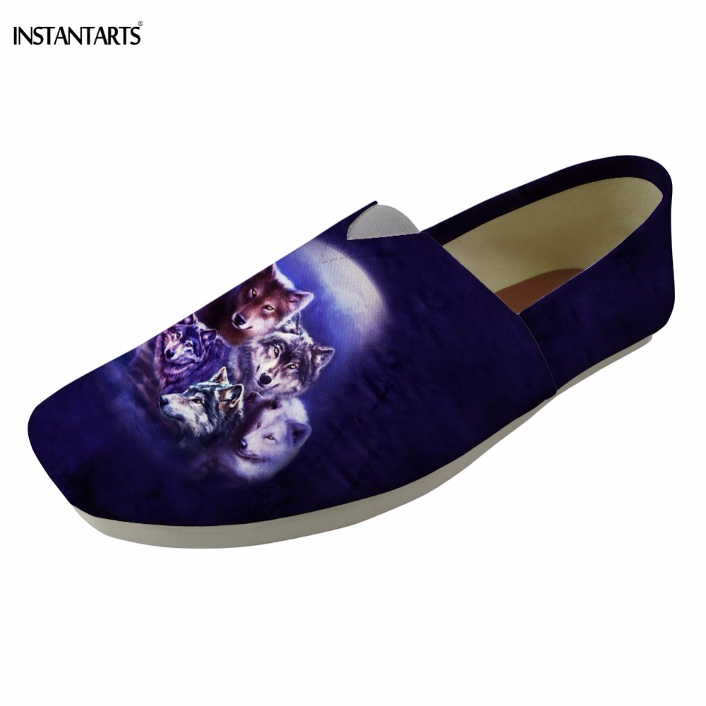 INSTANTARTS Moon Wolf Print Womans Summer Lazy Slip On Shoes Breathable Comfortable Flat Casual Woman Walking Cotton Footwear