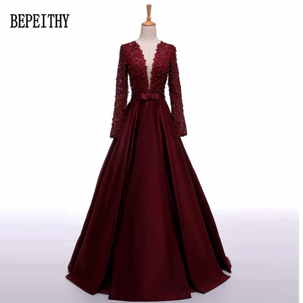 BEPEITHY Robe De Soiree Long Sleeve Burgundy Satin Evening Dress Long  Vestido De Festa Longo Elegant d78edca09dcd