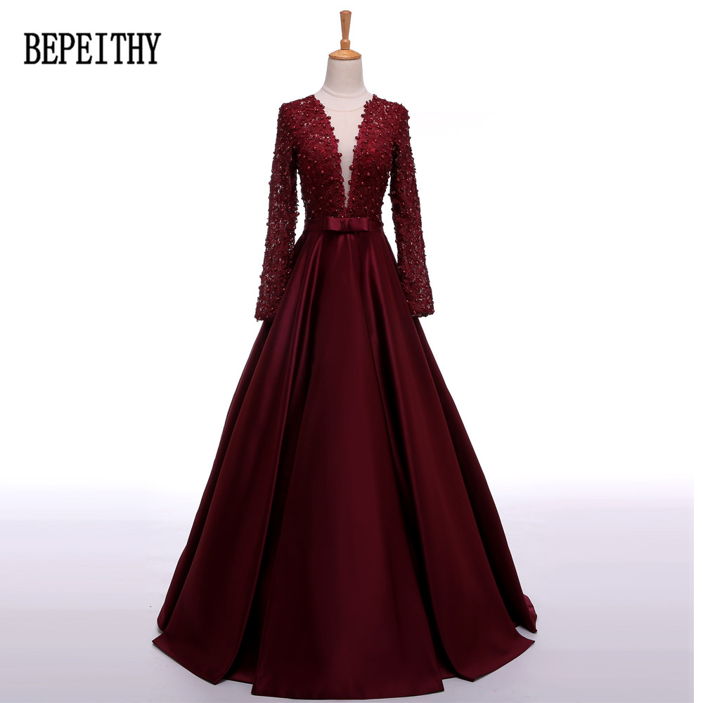BEPEITHY Robe De Soiree Long Sleeve Burgundy Satin   Evening     Dress   Long Vestido De Festa Longo Elegant   Dresses   2019