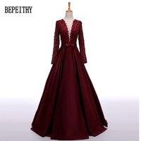 Robe De Soiree Long Sleeves Backless Burgundry Chiffon Long Evening Dress Vestido De Festa Longo Prom