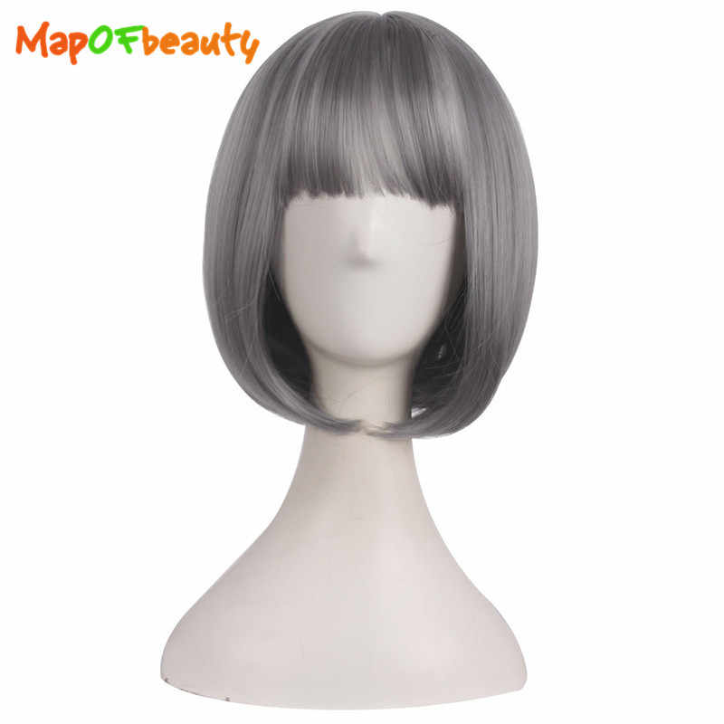 MapofBeauty Short Straight Grey Wigs With Air Bang Heat Resistant Hair For Women Synthetic Natural Female False Hairpeice Peruca