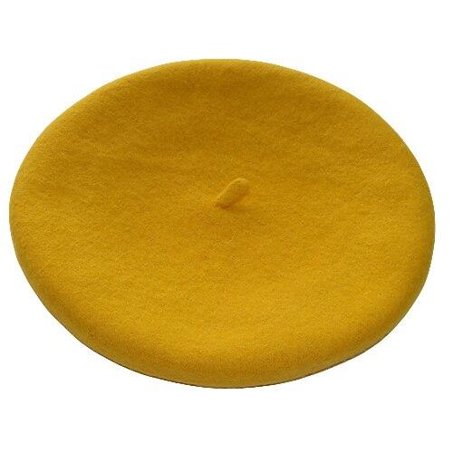 Одноцветный женский берет для девочек, французская художница, теплая шерстяная зимняя шапка, шапка 4XQT - Цвет: Цвет: желтый